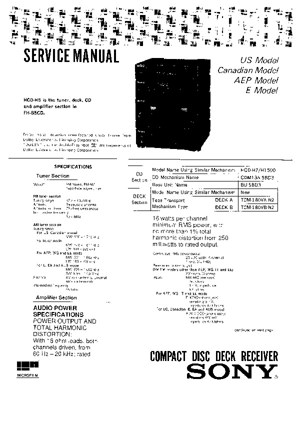 Sony HCD-H5 Service Manual — View online or Download