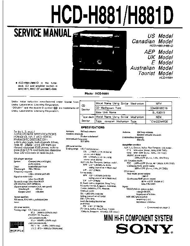 Sony HCD-H881, HCD-H881D Service Manual — View online or