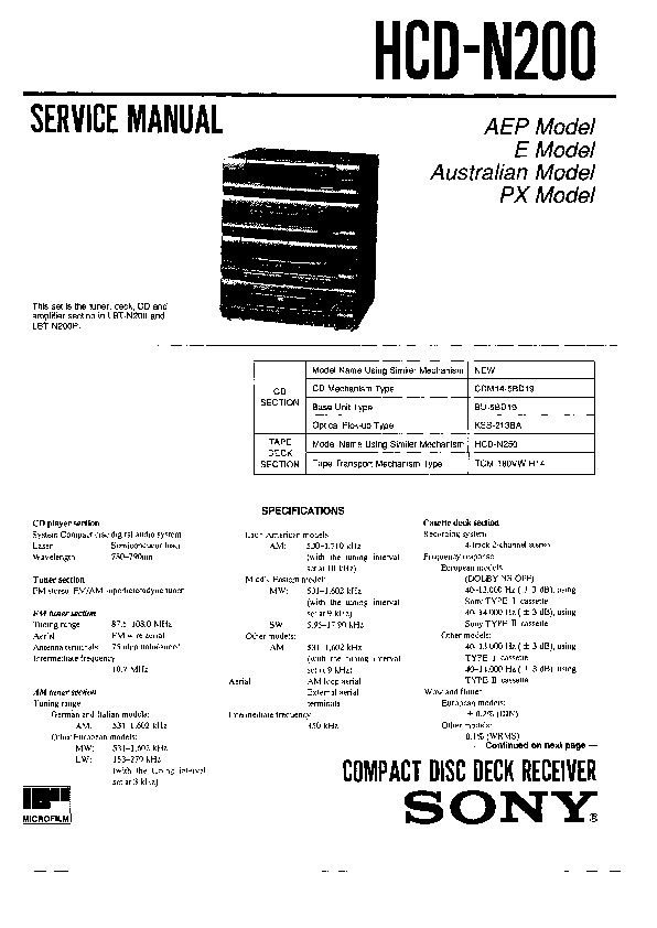 Sony HCD-N200 Service Manual — View online or Download