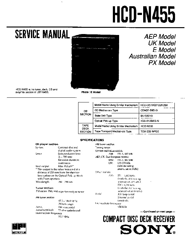 Sony LBT-N455, SS-LB455 Service Manual — View online or