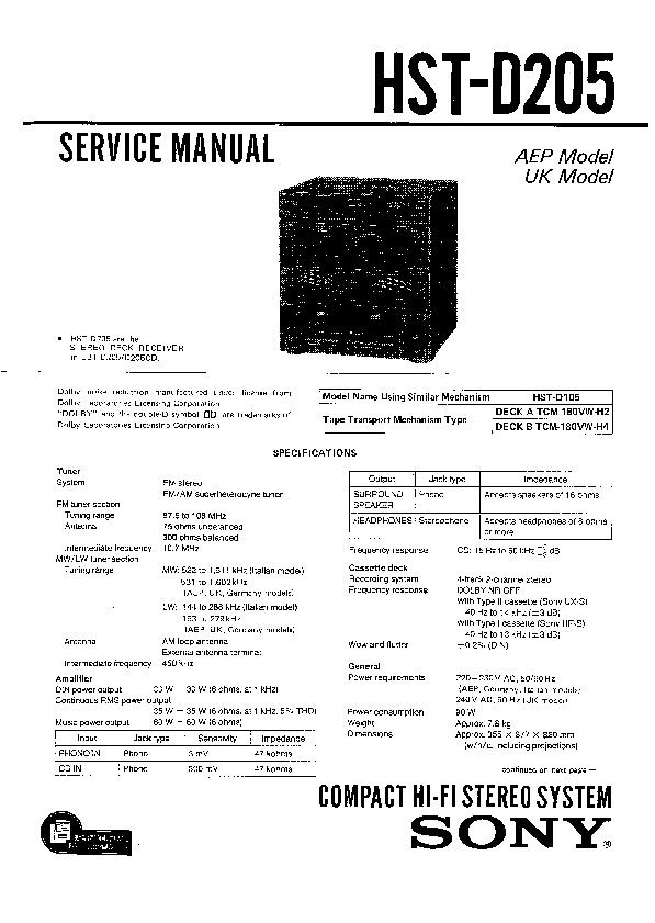 Sony HST-D205, LBT-D205, LBT-D205CD Service Manual — View