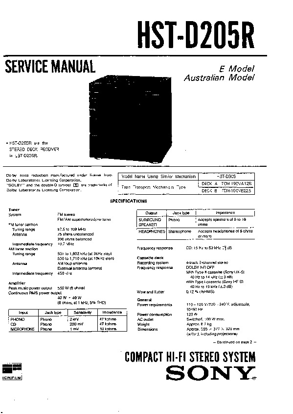 Sony HST-D205R Service Manual — View online or Download