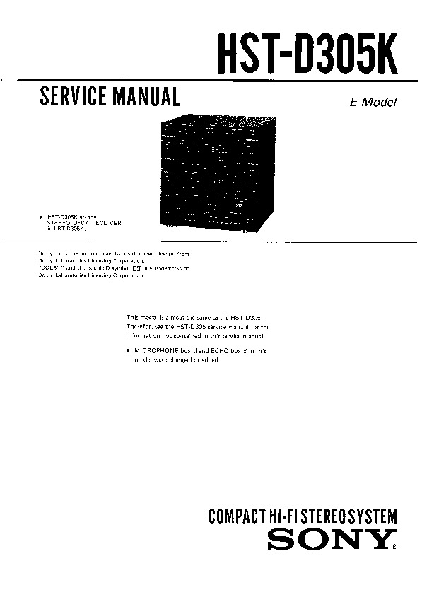 Sony HST-D305K, LBT-D305K Service Manual — View online or