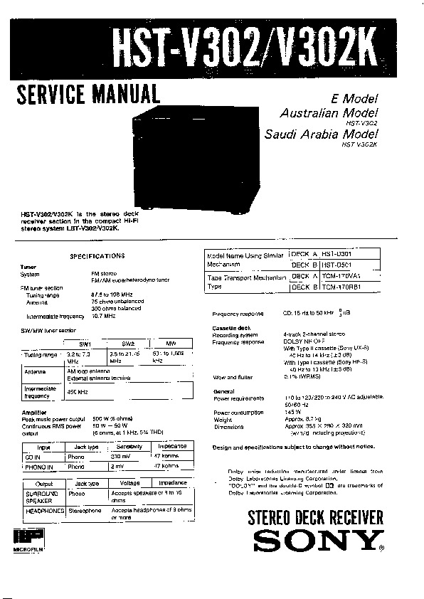 Sony HST-V302, HST-V302K Service Manual — View online or