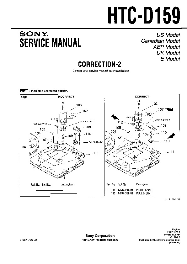 Sony HTC-D159 (SERV.MAN2) Service Manual — View online or