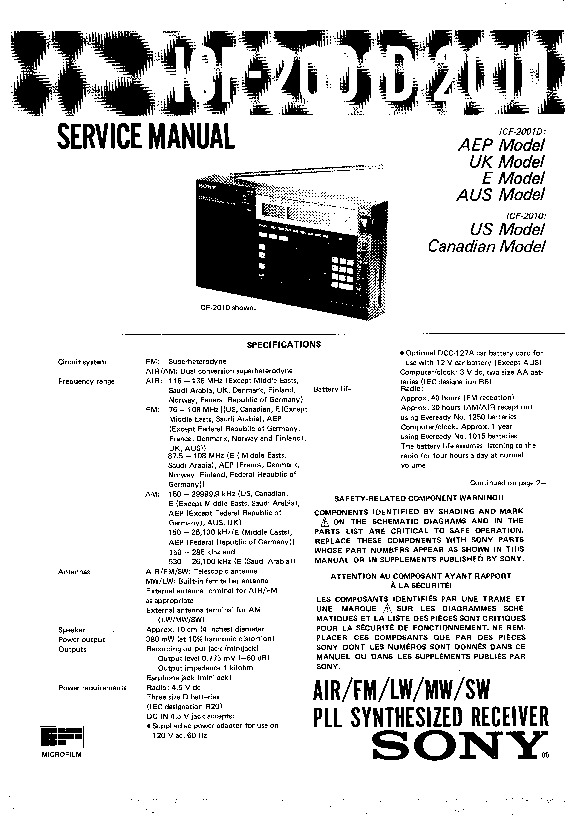 Sony ICF-2001D, ICF-2010 Service Manual — View online or