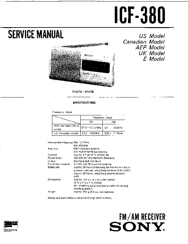 Sony ICF-380 (SERV.MAN2) Service Manual — View online or