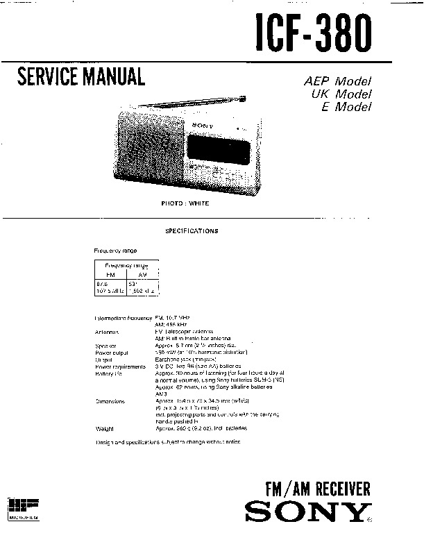 Sony ICF-380 Service Manual — View online or Download
