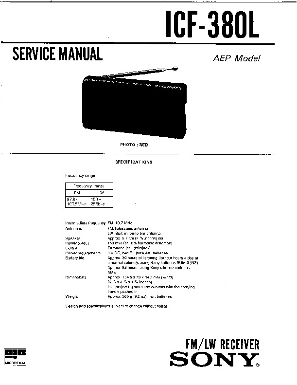 Sony ICF-380L (SERV.MAN3) Service Manual — View online or