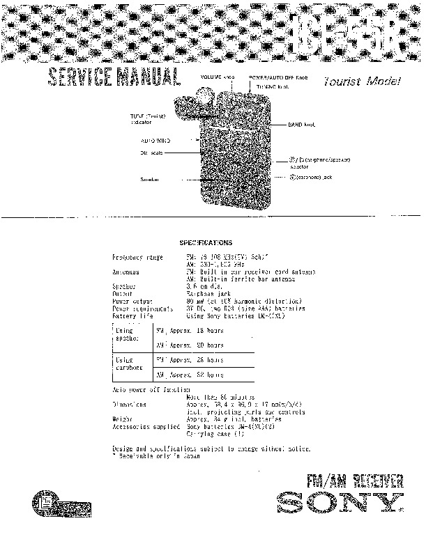 Sony ICF-55R Service Manual — View online or Download