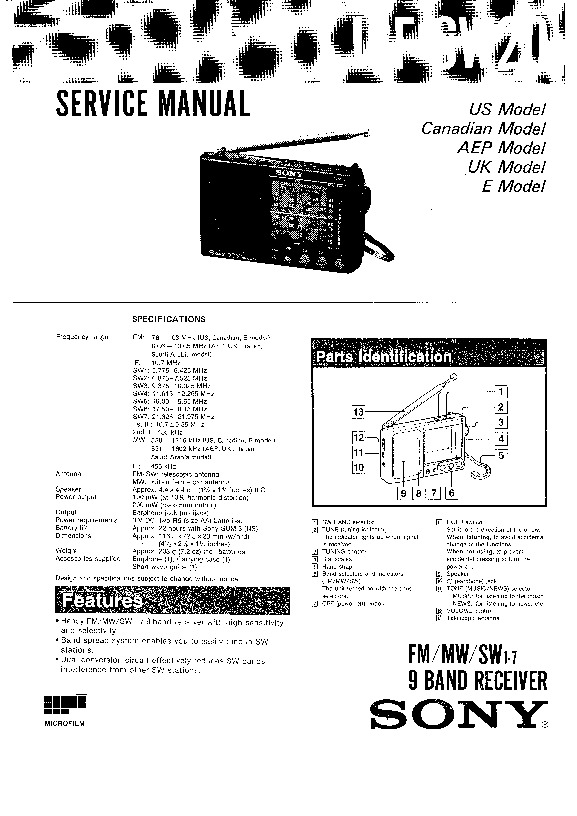Sony ICF-SW20 Service Manual — View online or Download