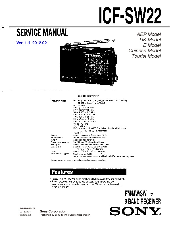 Sony ICF-SW22 Service Manual — View online or Download