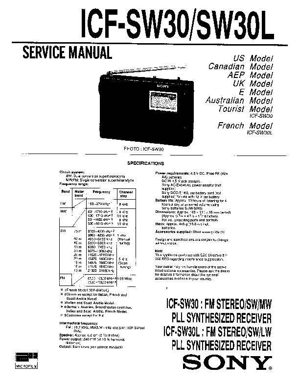 Sony ICF-SW30, ICF-SW30L Service Manual — View online or