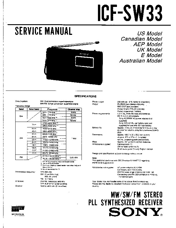 Sony ICF-SW33 Service Manual — View online or Download