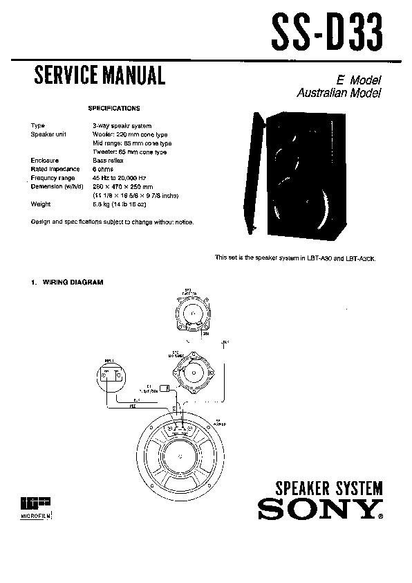 Sony LBT-A30, LBT-A30K, SS-D33 Service Manual — View