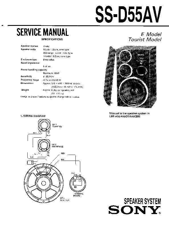 Sony LBT-A50, LBT-A50CD, LBT-A50CDM, SS-D55AV Service