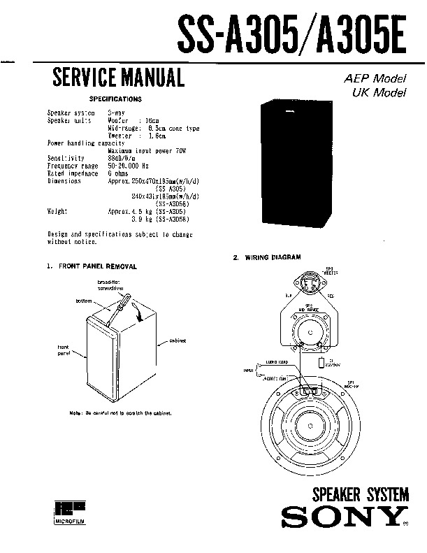 Sony LBT-D305CD, SS-A305, SS-A305E Service Manual — View