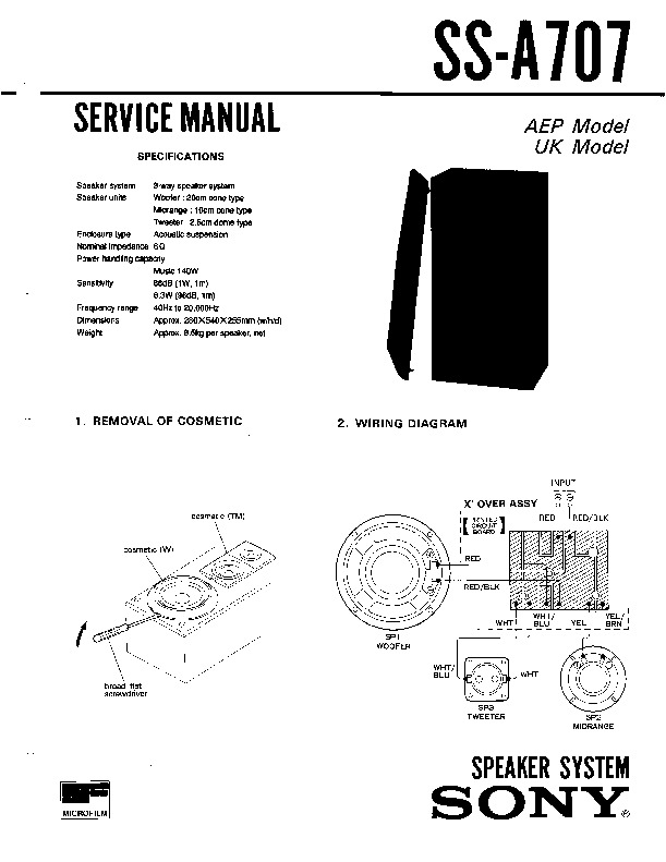 Sony LBT-D707, LBT-D707CD, SS-A707 Service Manual — View