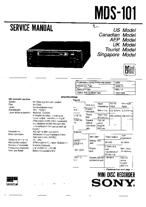 Sony MDS-101 Service Manual — View online or Download