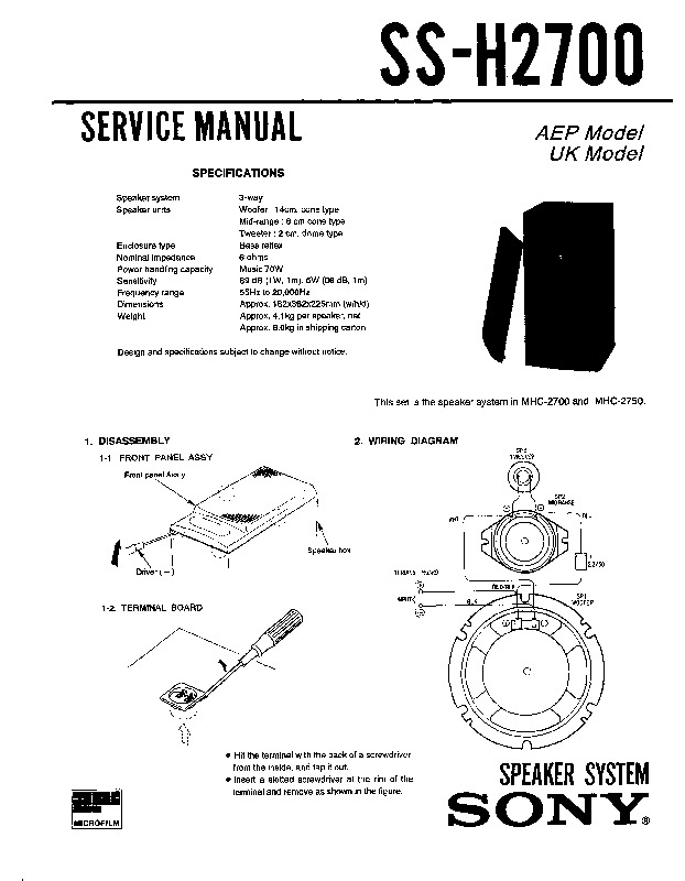 Sony MHC-2700 Service Manual — View online or Download