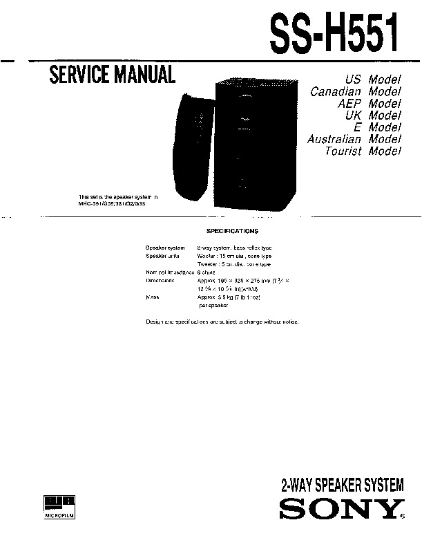 Sony MHC-331, MHC-D2, MHC-G33 Service Manual — View online