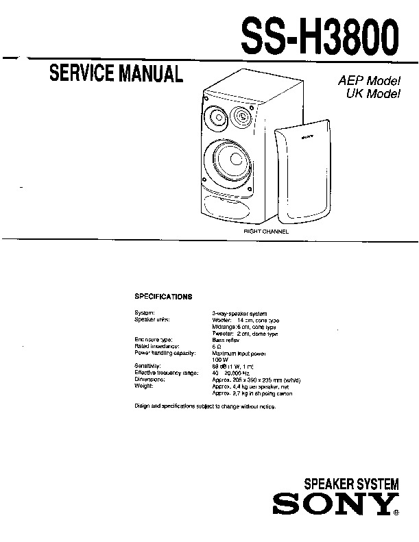Sony MHC-3800, SS-H3800 Service Manual — View online or