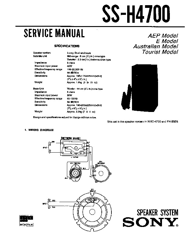 Sony MHC-4700, SS-H4700 Service Manual — View online or