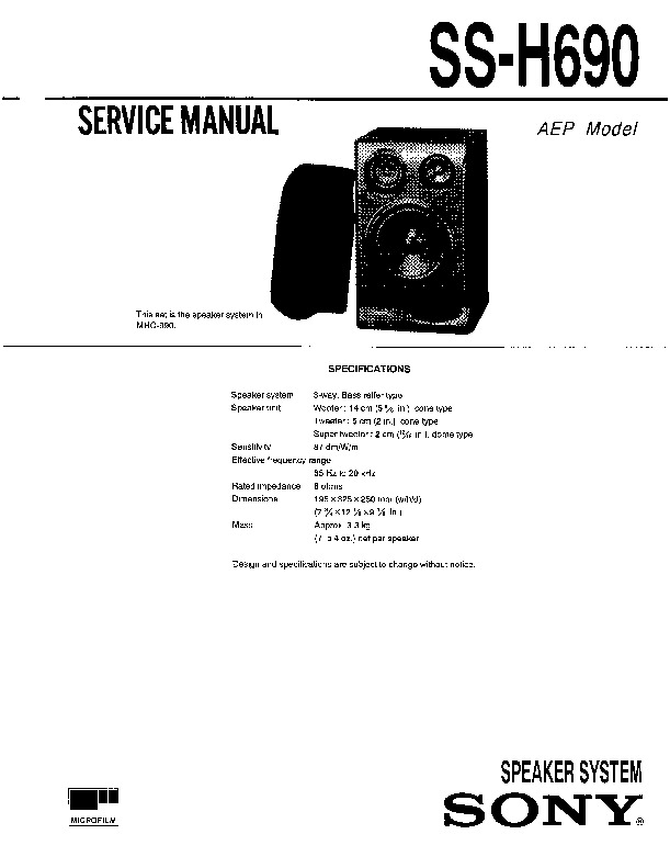 Sony HCD-H690, MHC-690 Service Manual — View online or