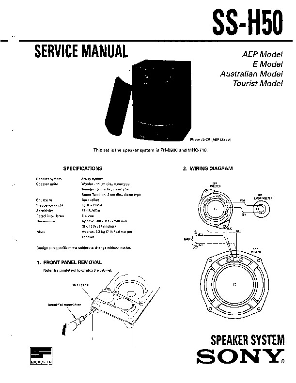 Sony MHC-710, SS-H50 Service Manual — View online or