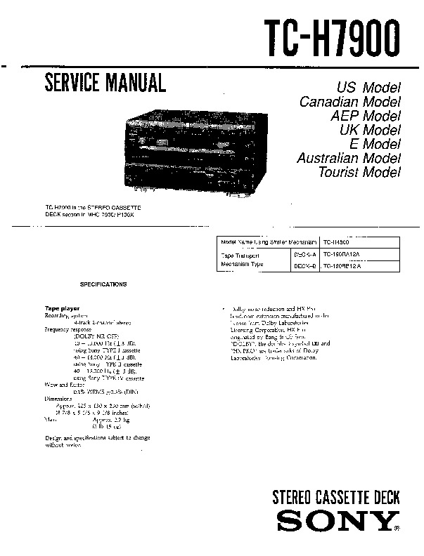 Sony MHC-7900, MHC-P100X Service Manual — View online or