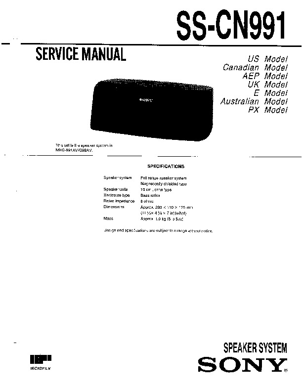 Sony MHC-991AV, MHC-G99AV, SS-CN991 Service Manual — View