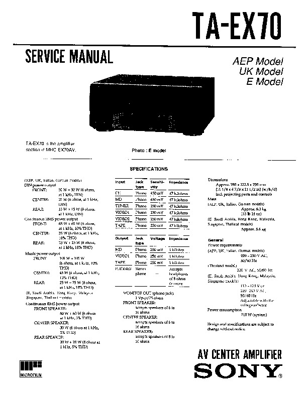 Sony MHC-EX7, TA-EX7 Service Manual — View online or