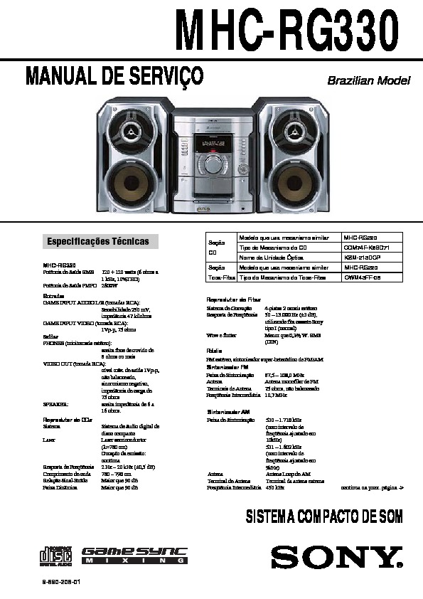 Sony MHC-GX35, MHC-RG310, MHC-RG330 Service Manual — View