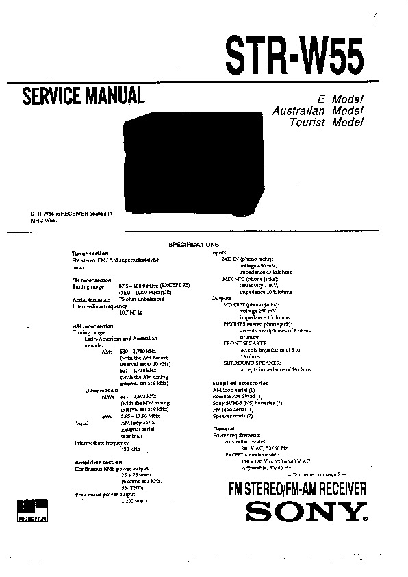 Sony HCD-W55, MHC-W55, MHC-W77AV Service Manual — View