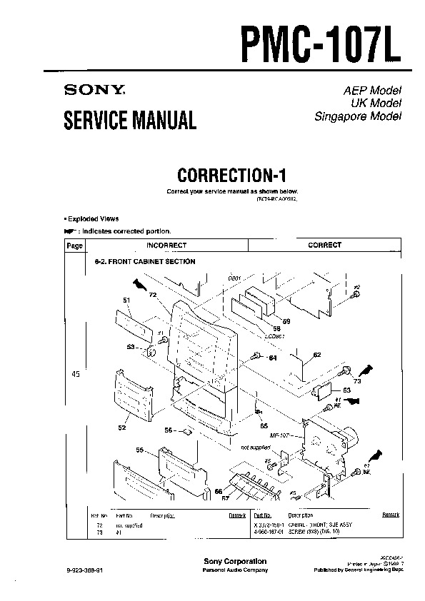 Sony PMC-107L Service Manual — View online or Download