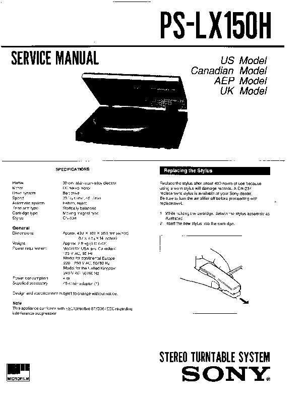 Sony PS-LX150H Service Manual — View online or Download