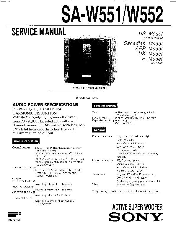 Sony SA-W551, SA-W552, SEN-R5520 Service Manual — View