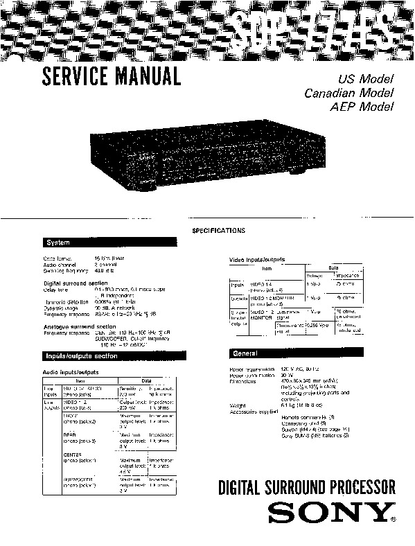 Sony SDP-777ES Service Manual — View online or Download