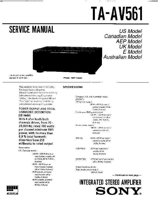 Sony SEN-561, TA-AV561 Service Manual — View online or