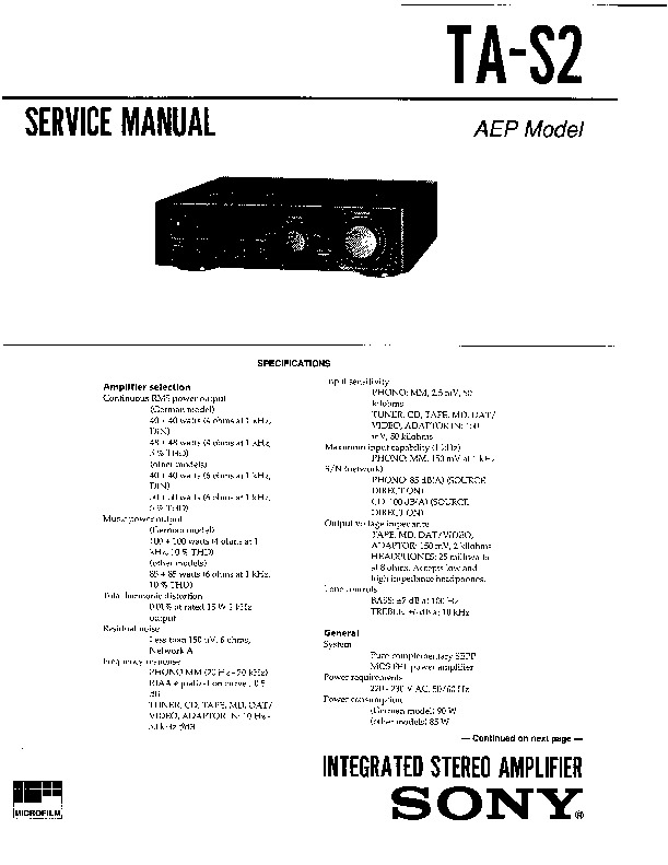 Sony SHC-S2, TA-S2 Service Manual — View online or