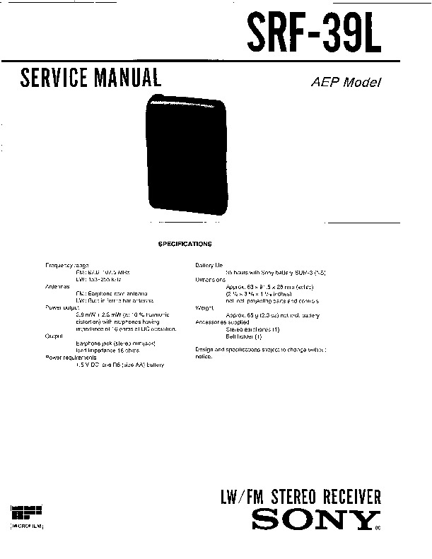 Sony SRF-39L (SERV.MAN2) Service Manual — View online or