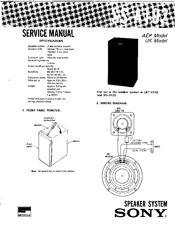 Sony SS-A102 service manual — Page 2