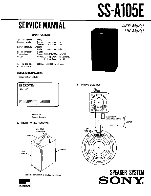 Sony LBT-D115CD, SS-A105 Service Manual — View online or