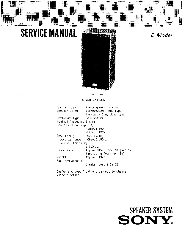 Sony SS-A5 Service Manual — View online or Download repair