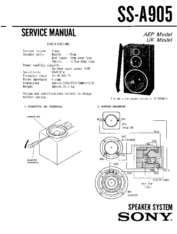 Sony SS-A905 Service Manual — View online or Download
