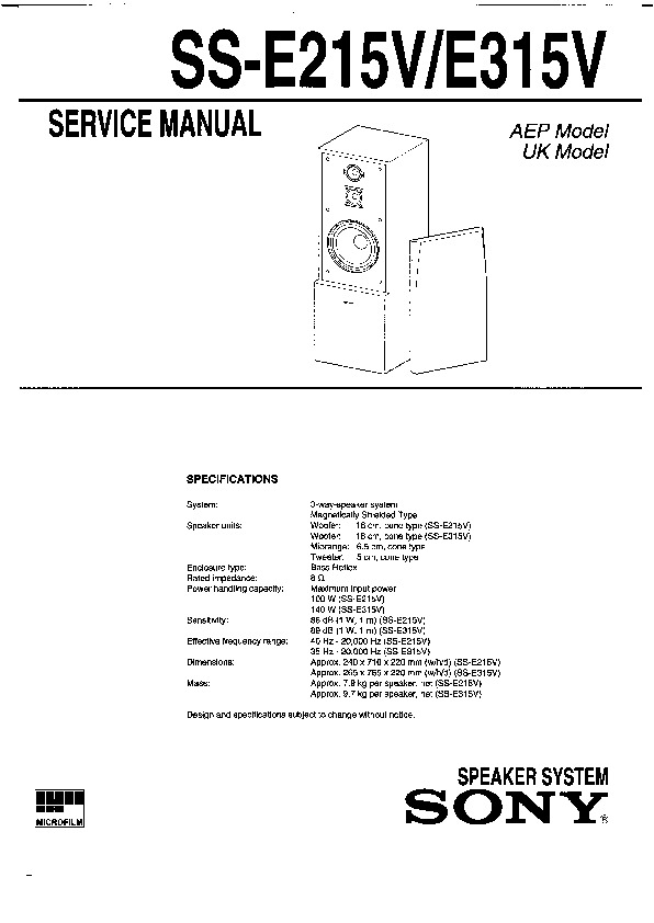 Sony SS-E215, SS-E315 Service Manual — View online or