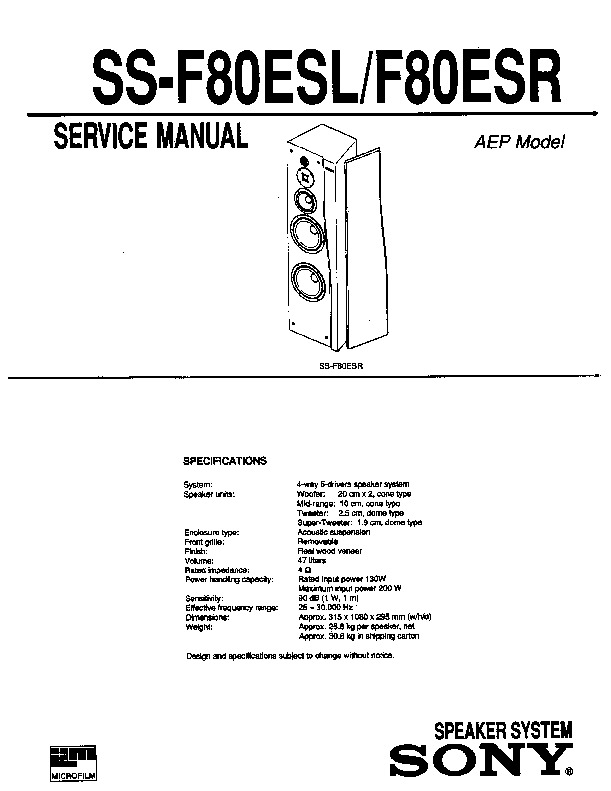 Sony SS-F80ESL, SS-F80ESR Service Manual — View online or