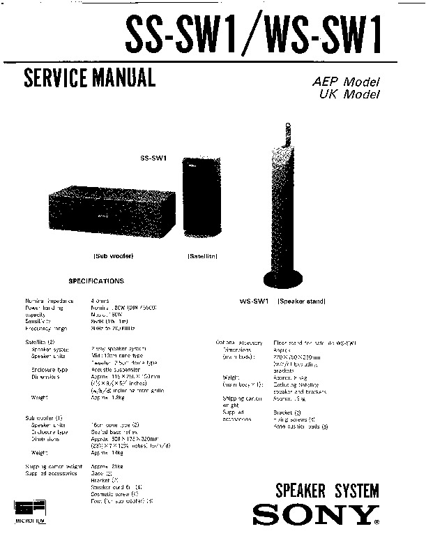 Sony SS-SW1, WS-SW1 (SERV.MAN3) Service Manual — View