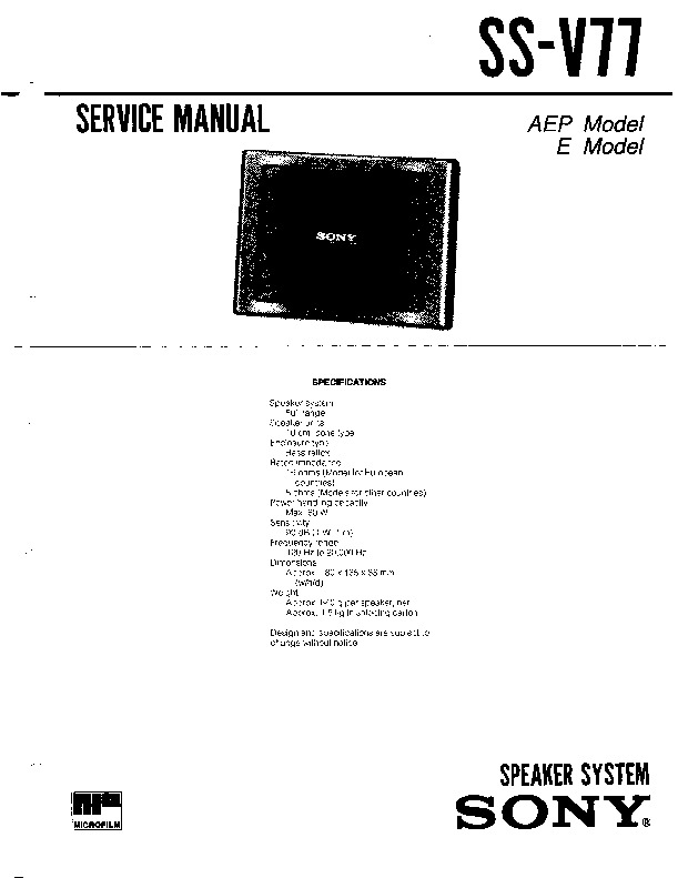 Sony SS-V77 Service Manual — View online or Download