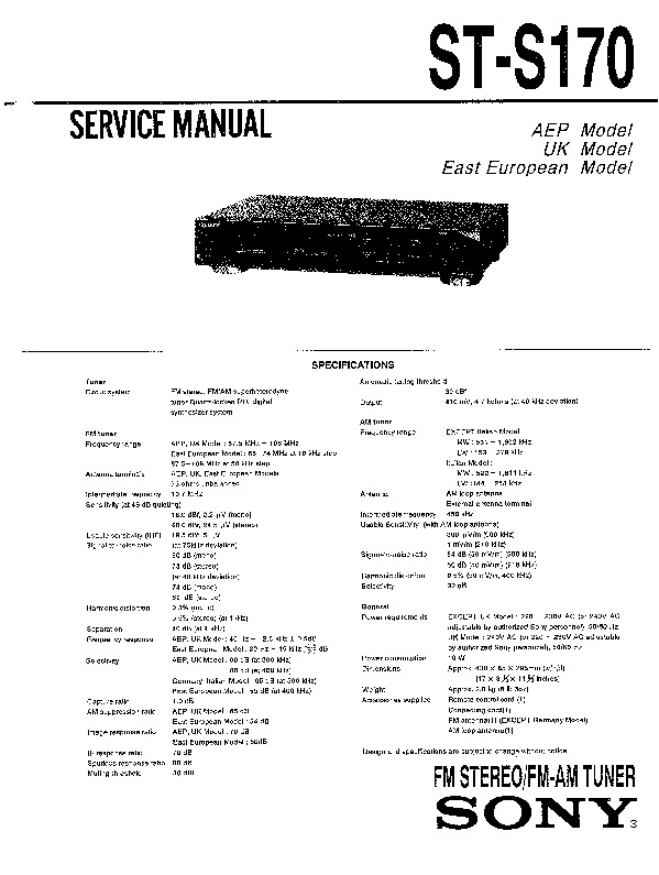 Sony ST-S170 (SERV.MAN2) Service Manual — View online or